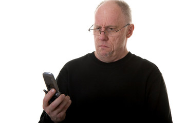 Old Guy in Glasses Looking at Phone Confused