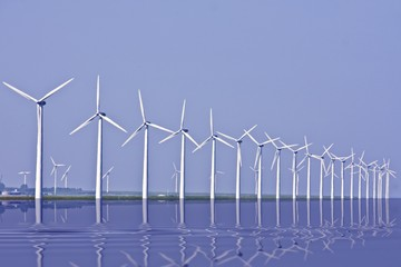 Windmills at the IJsselmeer in the Netherlands