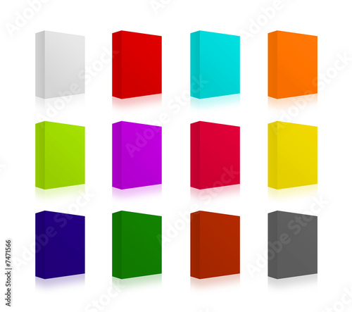 3D boxes in different colors. You cand place text or logo on.