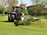 Tractor with trailer Mowing grass poster