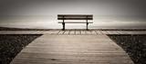 banc mer océan planche normandie gris seul triste solitude poster