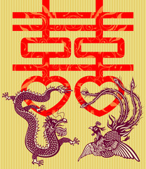 Double happiness Chinese traditional wedding card (vector)