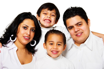 Happy hispanic family portrait isolated