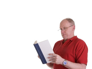 Old Guy in Red Shirt Reading Book