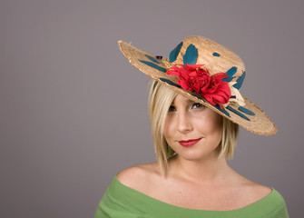 Blonde in Flowered Hat and Look