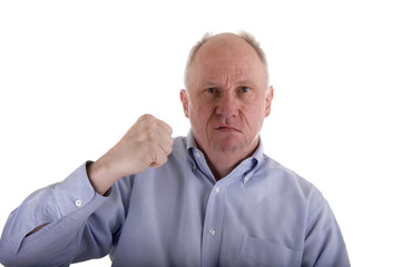 Old Guy in Blue Threatening with Fist