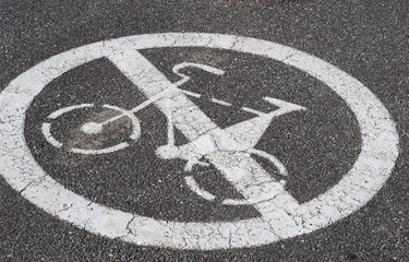 No Biking Allowed - Sign on the road