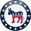 canvas print picture - Democrat Button - White and Blue