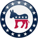 Democrat Button - White and Blue