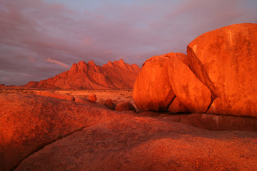 Famous Spitzkoppe at sunset