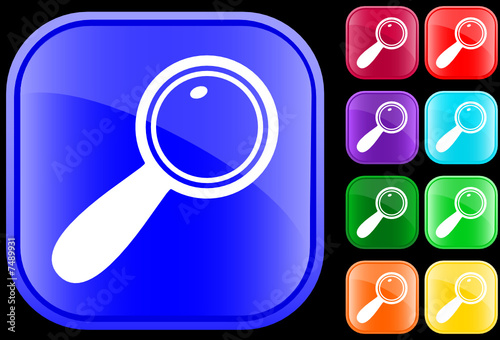 Icon of magnifying glass on shiny square buttons