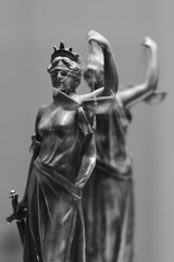 Old bronze statue of Justice