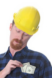 construction worker with earnings poster