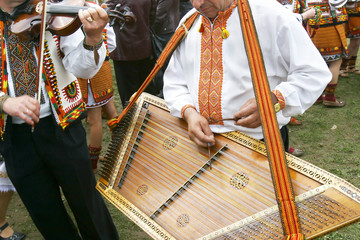 traditional ukrainian musicians in national clothes