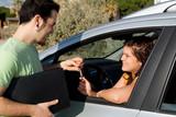 hiring rental or buying new car poster