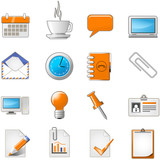 Fototapety Web page or office theme icon set