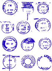 set of blue vector stamps