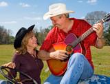 Singing Cowboy & Wife Flirting poster