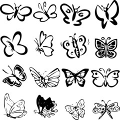 Set of black vector butterflies