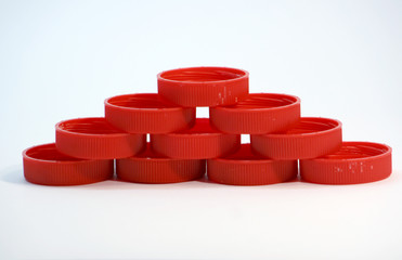 red milk bottle lids..