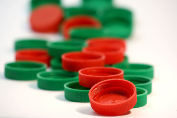 red & green milk bottle lids..