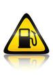 Symbole de danger pompe à essence(reflet métal)