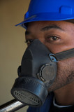 Construction worker and dust mask poster