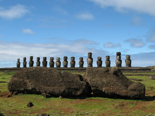 Moai in front of Ahu Tongariki statues, Easter Island, Pacific