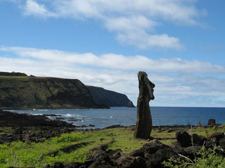 Moai on Easter Island, Chile, Pacific ocean