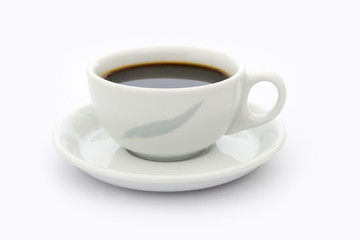 Cup of coffee on white saucer