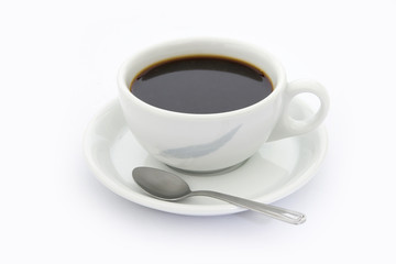 Cup of coffee with tea spoon