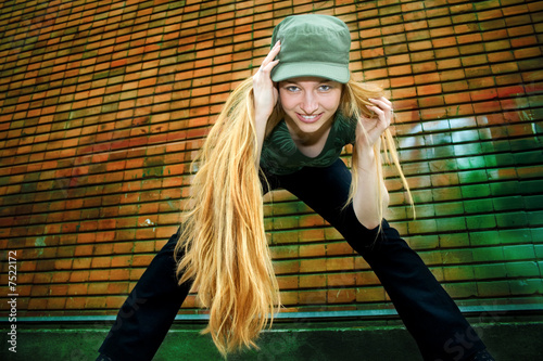 Smiling girl with long blond hair