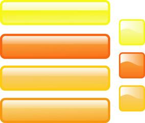 Sieben Web-Buttons in leuchtenden Farben Gelb und Orange