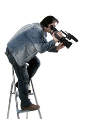 isolated working cameraman