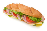 Fresh foot-long submarine sandwich with ham and cheese