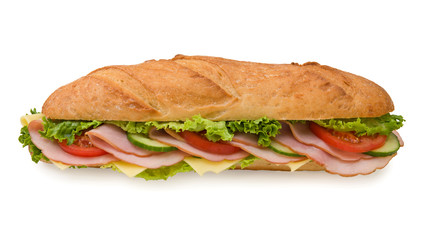 Extra large submarine sandwich with ham and cheese