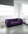 purple sofa in minimalist interior