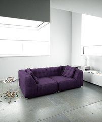 purple sofa in minimalist interior