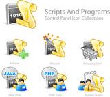 script and program - control panel icon set poster
