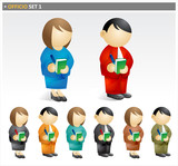 Business People Taking Notes - officio icon set poster
