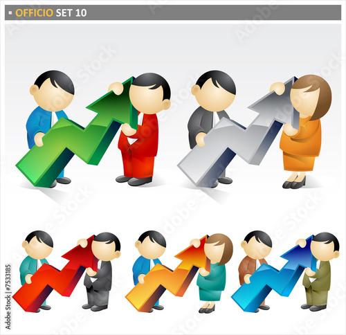 Business People holding progressive arrow  - officio icon set