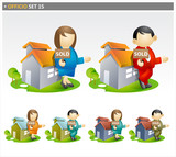 Real Estate Agents with sold house  - offico icon set poster
