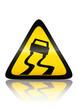 Symbole de danger route glissante (reflet métal)