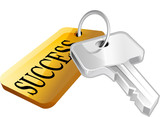 Illustration of a key with a success label attached poster