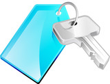 Tekno icon of a silver key on a key chain. poster