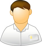 employee  icon with ID on his pocket poster