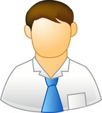 employee with blue tie icon poster