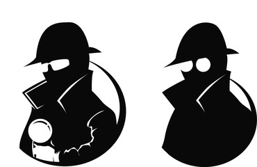 Silhouette of 2 detectives, one with  magnifying glass