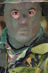 Military training combat, portrait shot