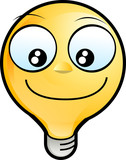 happy smiley Lighting Bulb face mascot poster